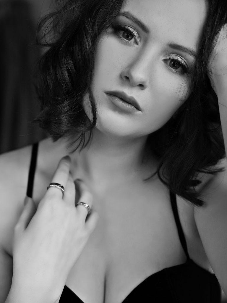 Beautiful woman during a boudoir photoshoot