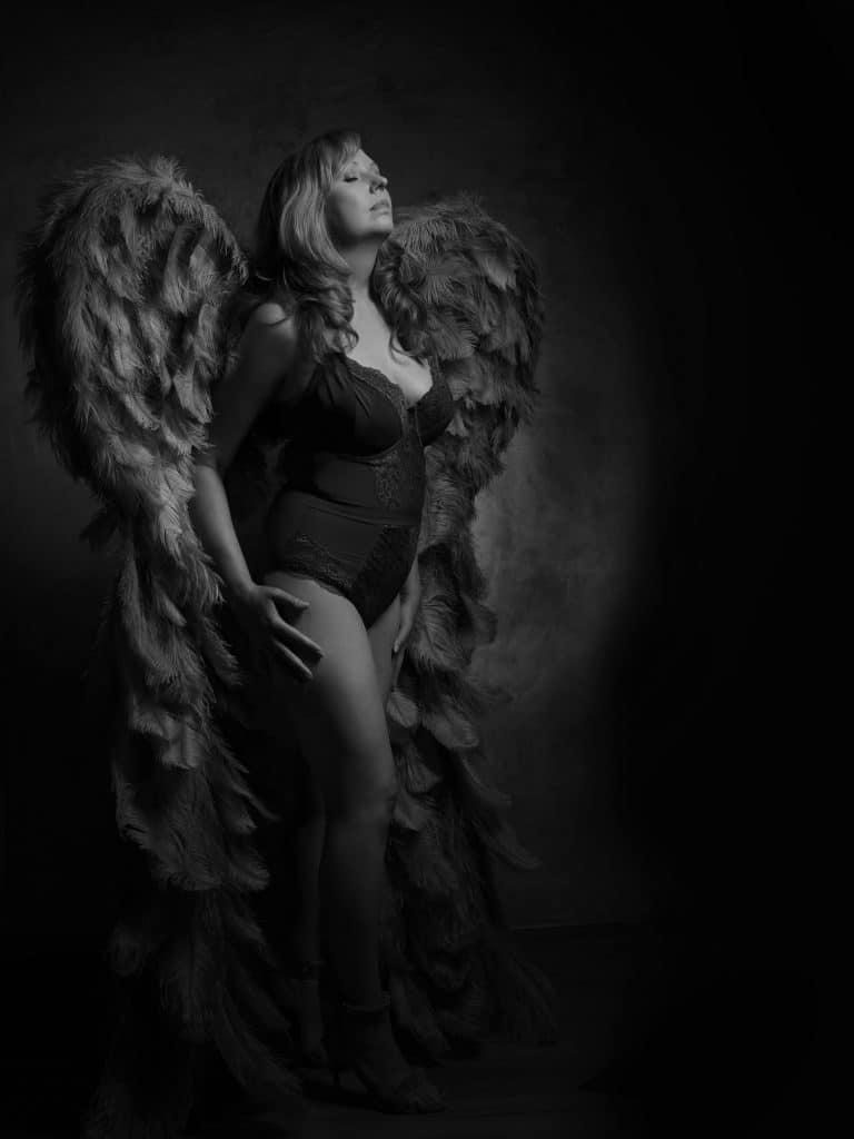 Black and white Eternal Angel portrait by Johanna Elizabeth